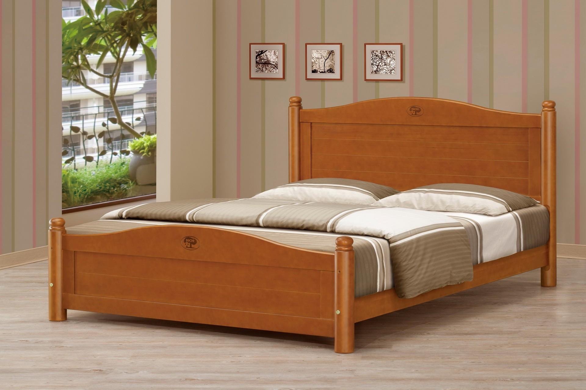 5尺圓柱柚木色雙人床