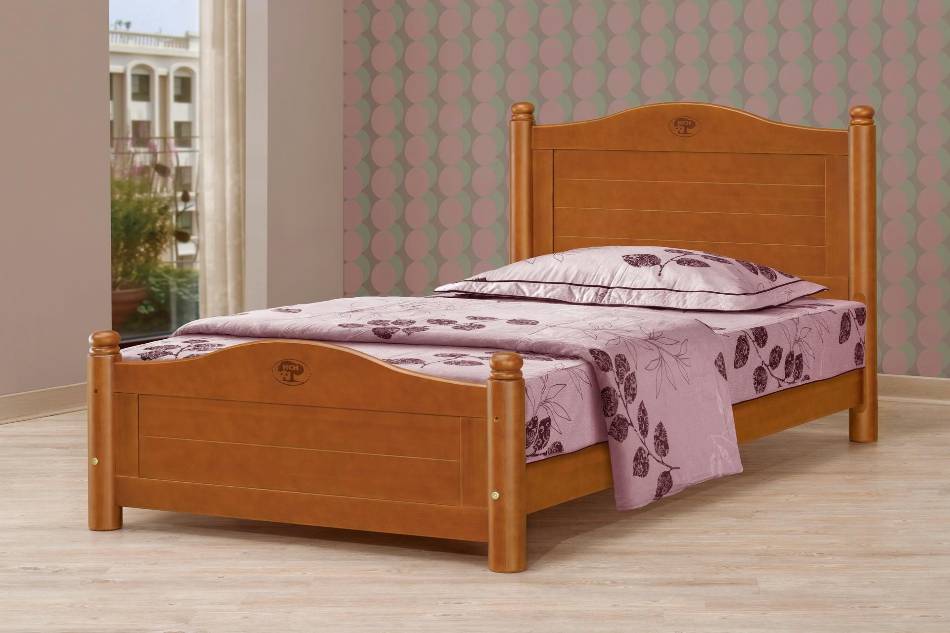 3.5尺圓柱柚木色單人床