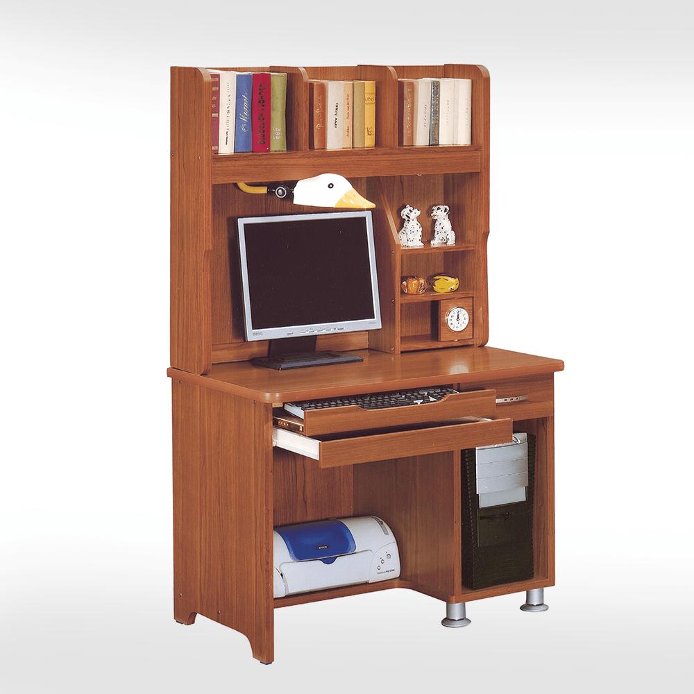 3尺柚木色電腦桌全組