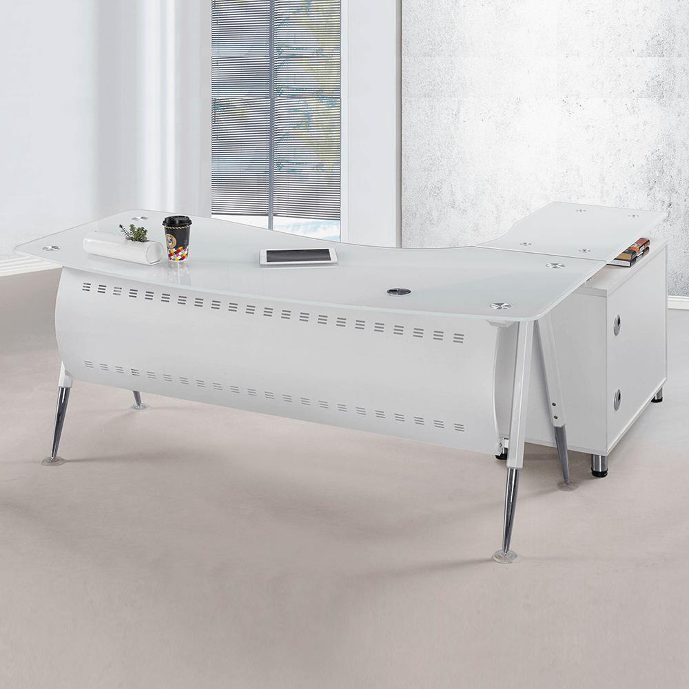 烤漆白色6尺L型辦公桌組(面右含側櫃、活動櫃)(B019)(1503)