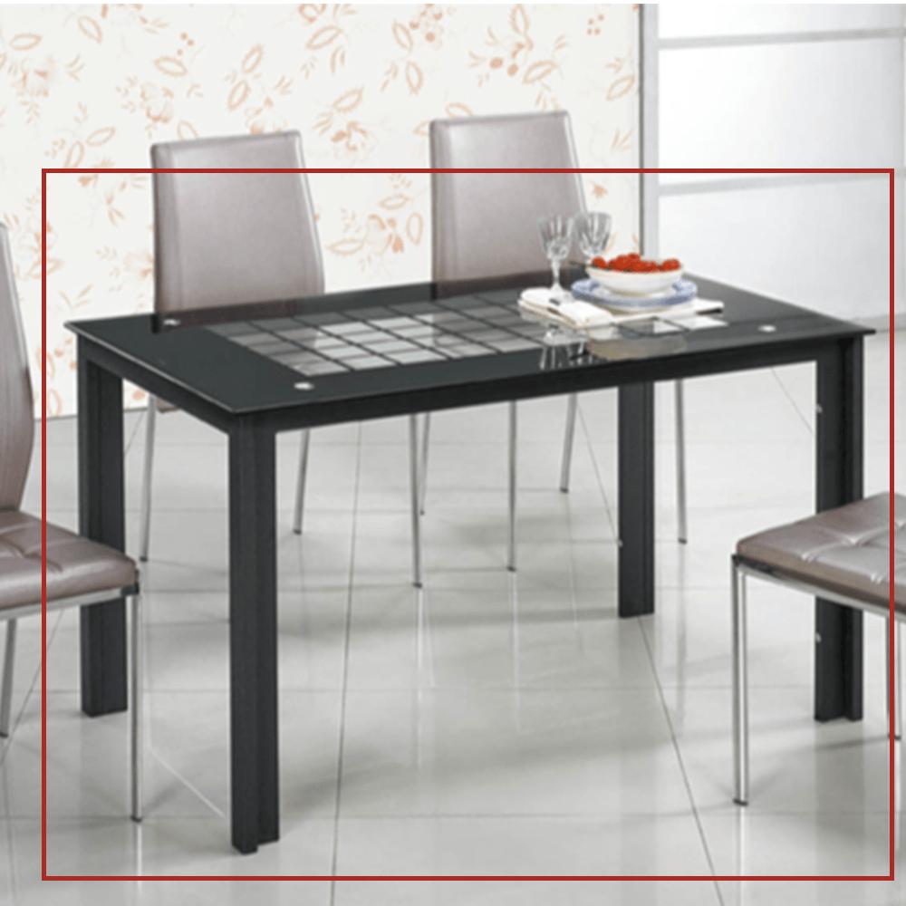 12mm強化玻璃造型4.3尺長方桌(C324)
