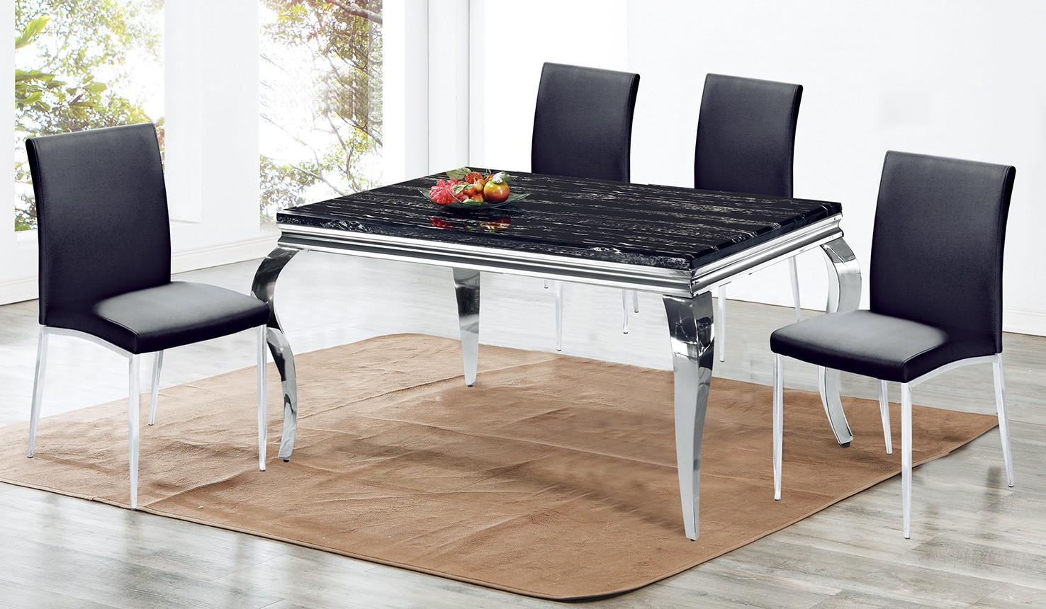 (C01)5尺白鐵石面餐桌椅(1桌4椅)