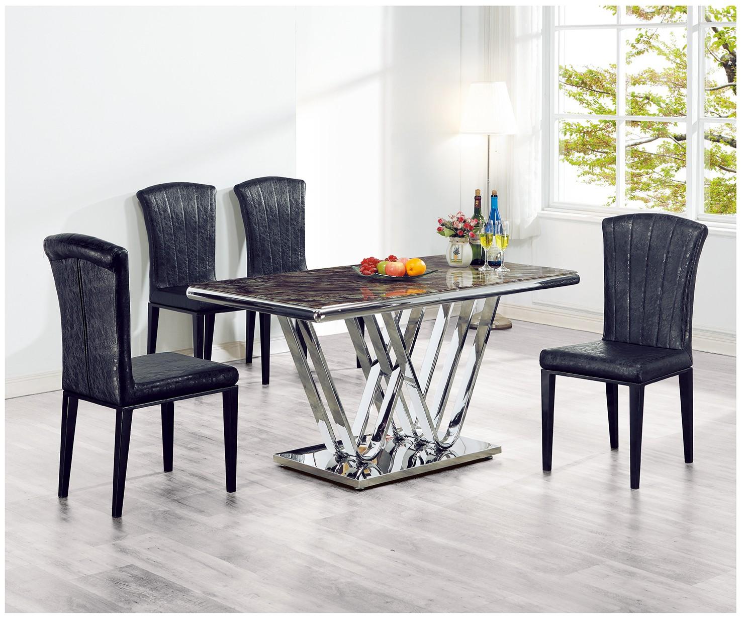 (C188-2)4.6尺石紋玻璃餐桌椅(1桌4椅)