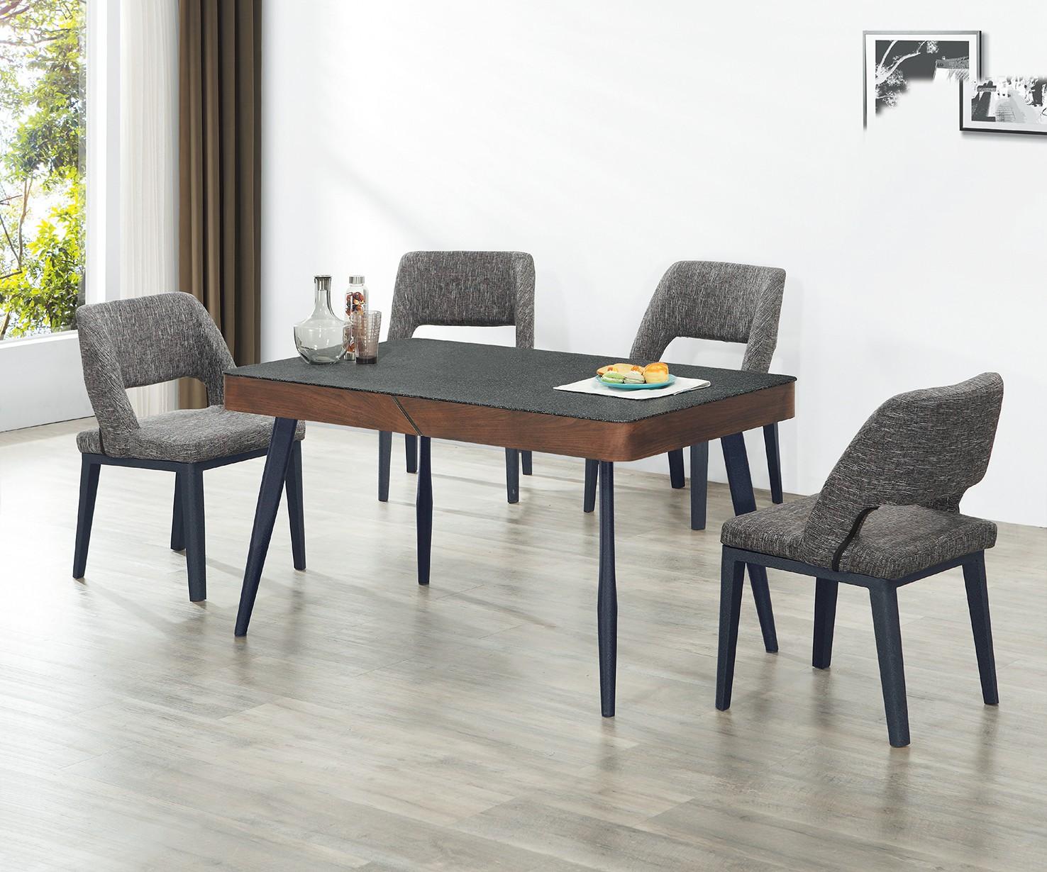 (A79)4.5尺岩燒玻璃餐桌椅(1桌4椅)