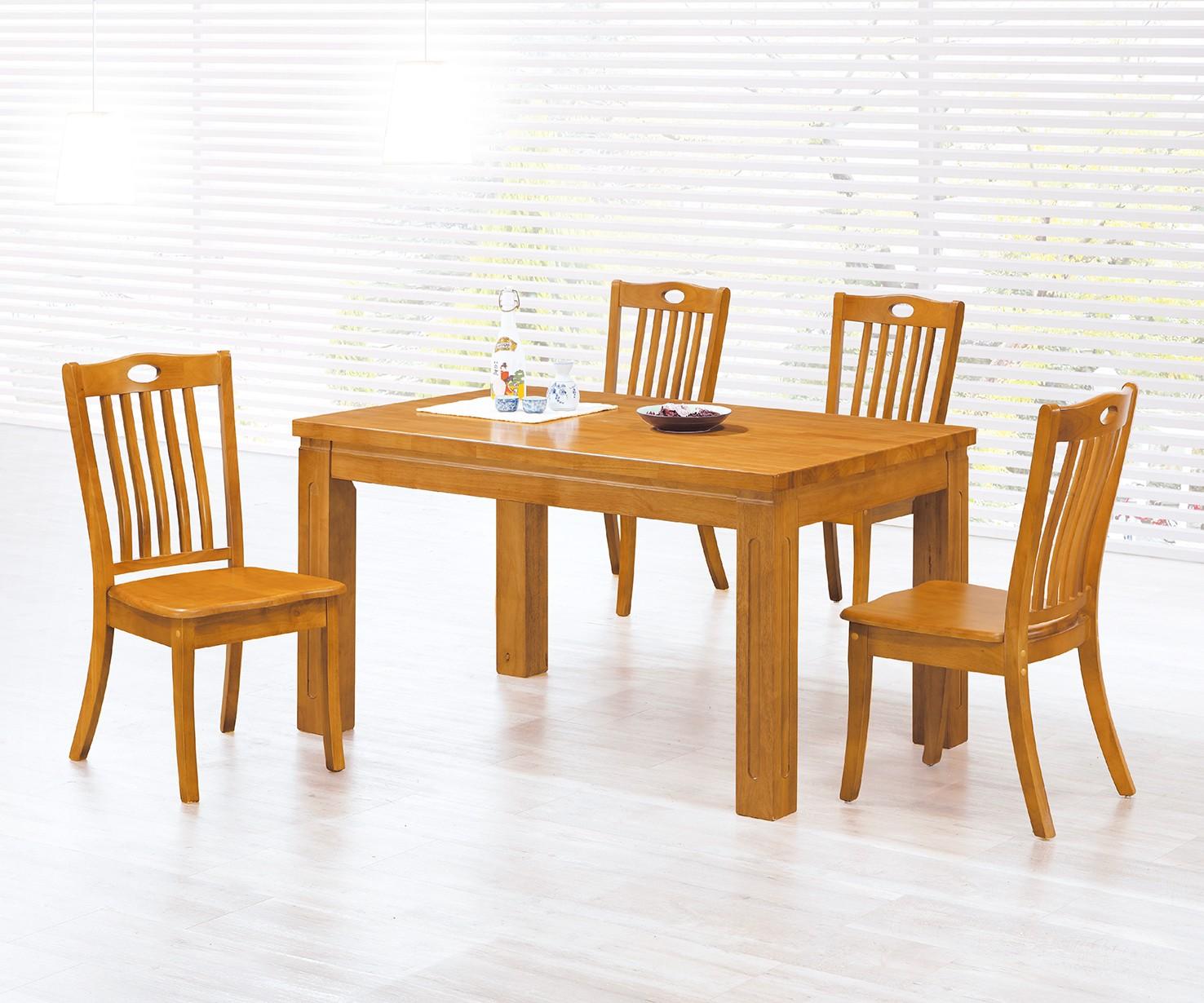 (135-7)4.5尺實木餐桌椅(1桌4椅)
