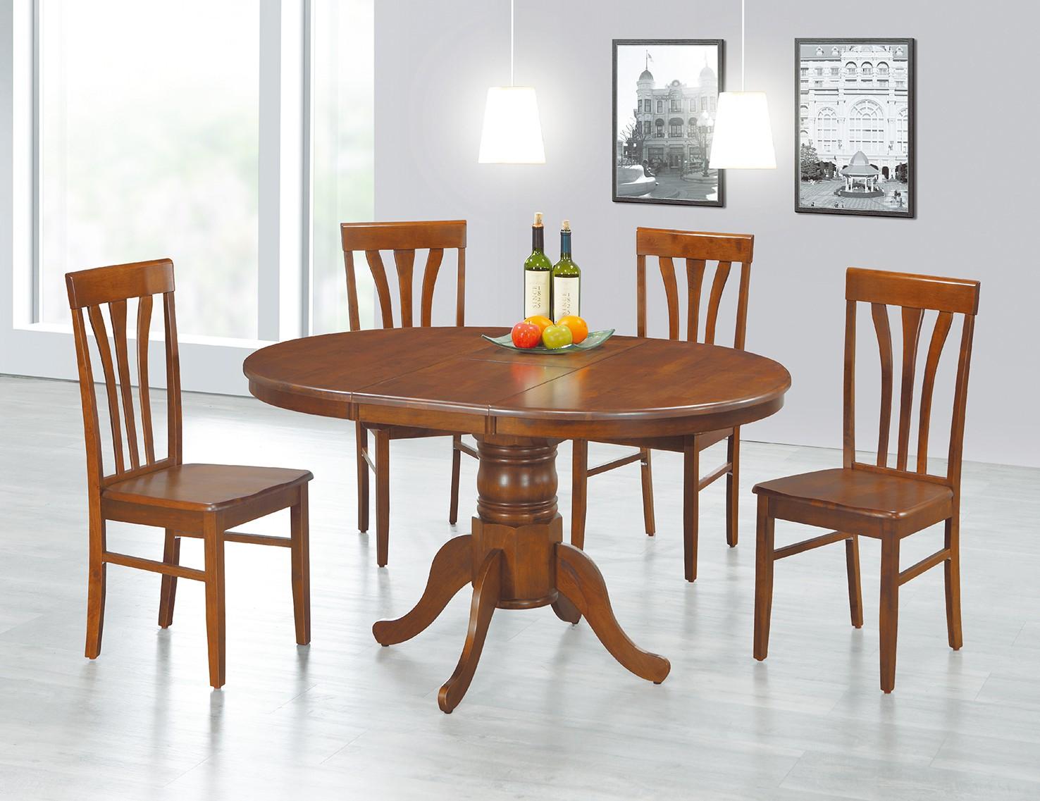 (EDT42)拉合實木圓餐桌椅(1桌4椅)