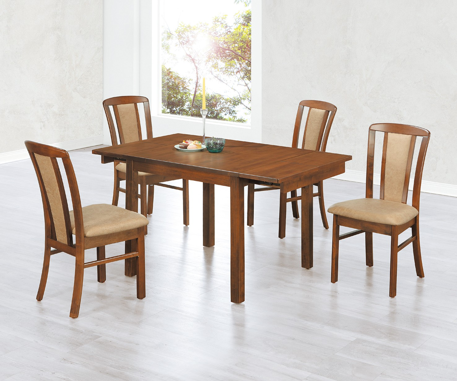 (EDT67)拉合實木長方餐桌椅(1桌4椅)