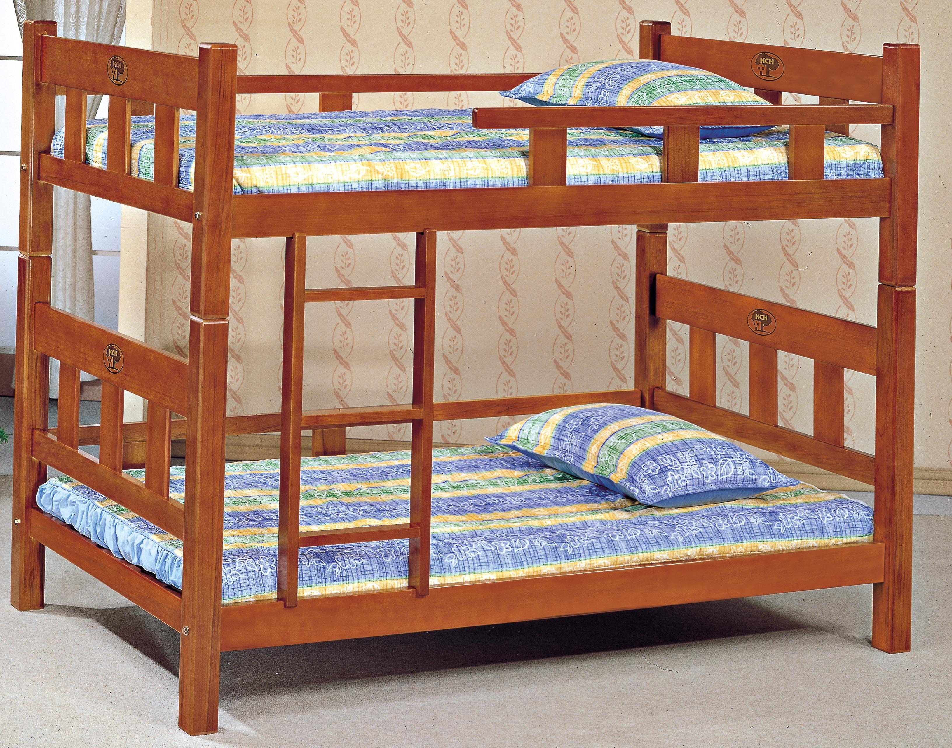 3.5尺實木柚木色方柱雙層床