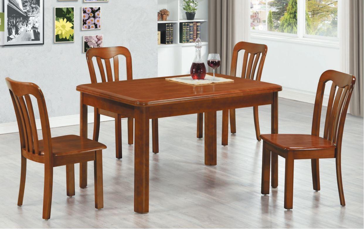 (901)4尺實木餐桌椅(1桌4椅)