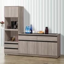歐恩7尺L型餐櫃/碗盤櫃(全組)(共兩色)