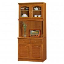 967型樟木色2.7尺餐櫃/碗盤櫃(全組)