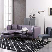 泰勒斯紫色貓抓皮L型皮沙發