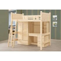 松木高架床(全組)(含衣櫃+書桌)
