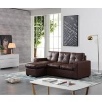 羅迪三人L型深咖啡色皮沙發