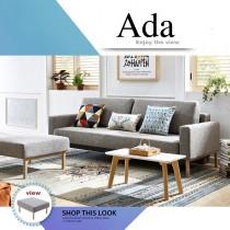 Ada 艾達功能布沙發床-灰色(含腳踏)