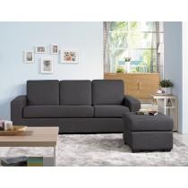 (F1207)深灰色L型布沙發