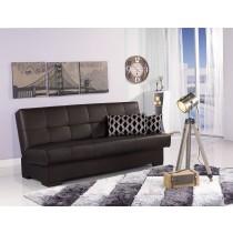 咖啡色皮革置物功能沙發床(A616)