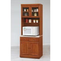 實木樟木色2.7尺石面餐櫃全組(131-1+131)