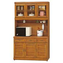 實木樟木色4尺餐櫃全組(885-1+885)