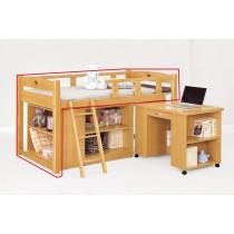 貝莎3.8尺檜木色多功能床(不含活動書桌)(不含收納櫃)(含椰子床墊)