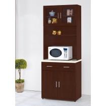 威碩胡桃色2.7尺石面餐櫃全組(V31+V31-1)