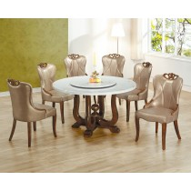 806大理石圓餐桌椅(1桌6椅)