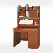 123柚木色雙龍書桌全組(木心板,滑軌)