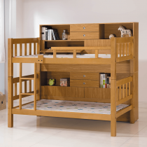 白木3.5尺方柱雙層床架(含床邊櫃X2)
