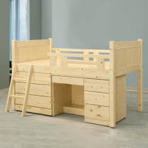 松木多功能床組(含三斗櫃、書桌)
