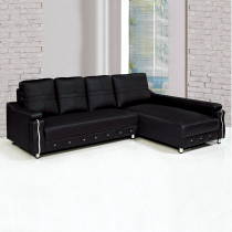 LV奈美黑皮L型沙發(面右)