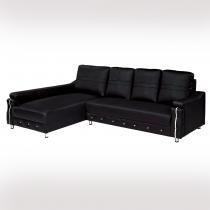 LV奈美黑皮L型沙發(面左)