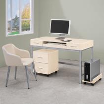 弗格森雪白衫4尺電腦桌組(含活動櫃、主機架)(不含椅)
