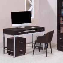 弗格森胡桃色4尺電腦桌組(含活動櫃、主機架)(不含椅)