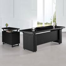 造型皮製6尺L型辦公桌組(含側櫃、活動櫃)(JB015)
