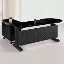 造型皮製6尺L型辦公桌組(面左含側櫃、活動櫃)