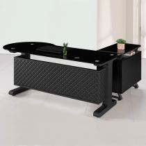 造型皮製6尺L型辦公桌組(面右含側櫃、活動櫃)(JB005)
