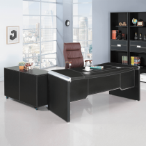 皮製6.3尺L型辦公桌組(含側櫃、活動櫃,不含辦公椅)