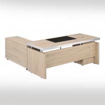 白橡色6尺L型辦公桌組(含側櫃、活動櫃,不含辦公椅)