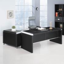 皮製造型6尺L型辦公桌組(含側櫃、活動櫃,不含辦公椅)