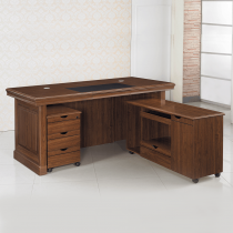 柚木色5.8尺L型辦公桌組(含側長櫃、活動櫃)(A15)