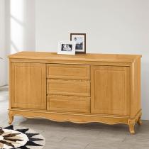 古典檜木色5尺碗盤櫃(附一左一右隔板)(694)