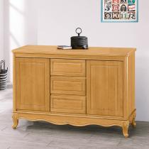 古典檜木色4尺碗盤櫃(附一左一右隔板)(695)