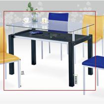 8mm強化玻璃造型4尺長方桌(747黑)