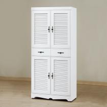 白色2.7*6尺鞋櫃(附活動隔板六片)