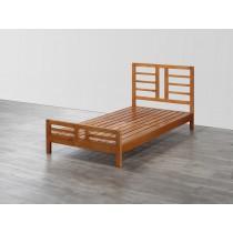 安格實木柚木色3.5尺單人床台(含獨立筒床墊)