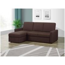 凱尼L型咖啡色多功能收納布沙發/沙發床