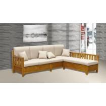 威廉L型柚木色沙發