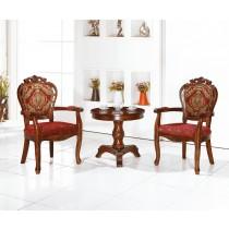 627柚木色布面扶手椅(單只)