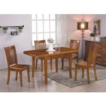 伊森柚木色實木拉合餐桌椅(T205)(1桌4椅)
