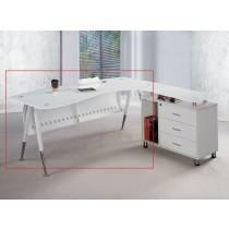 烤漆白色6尺辦公主桌(面左不含側櫃、活動櫃)(B019)(1503)